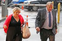 Amy Herrig and her father, Jerry Shults, of the Gas Pipe arrive at the Earle Cabell federal courthouse, downtown Dallas,  on Wednesday, Sept. 26, 2018. (Louis DeLuca/Staff Photographer)