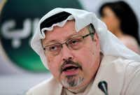 The late Saudi journalist Jamal Khashoggi speaks during a press conference in Manama, Bahrain, in 2014.  <i>The Washington Post </i>columnist, who wrote critically about the Saudi crown prince, was killed inside the Saudi Consulate in Istanbul in October 2018. (2014 File Photo/The Associated Press)