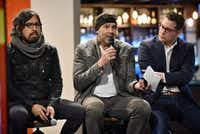 Peruvian artist Rudolph Castro (from left) took part in a panel discussion with Cuban artist Rolando Diaz and Oak Cliff artist and City Council candidate Giovanni Valderas at Mercado 369 in Dallas on Jan. 12. (Ben Torres/Special Contributor)