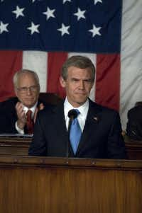 Actor Josh Brolin is President George W. Bush in W, the movie. [ in background is richard dreyfuss playing dick cheney ] // Byline: Sidney Ray Baldwin // Submitter: Lowery Metts // 10172008xNews 10172008xBriefing 10172008xALDIA 02102009xaldia / movieprez /( Sidney Ray Baldwin/Digital File_UPLOAD)