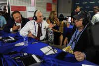 Alex Jones, of Infowars (left) and Roger Stone (center), former Donald Trump adviser, debated with Jonathan Alter during an episode of Alter Family Politics on SiriusXM in 2016.(Ben Jackson/Getty Images for SiriusXM)