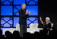 Southwest Airlines President Emeritus Colleen Barrett, right, attempts to calm an applauding crowd as Ron Ricks, vice chairman introduces her.(Ryan Michalesko)