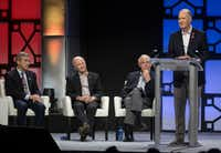 Southwest Airlines Chairman and CEO Gary Kelly, right, speaks as Presiding Director Bill Cunningham, second from right, Retired United States Air Force General Duncan McNabb (2nd left), and real estate developer Craig Hall (far left) listen during a celebration of life event for Southwest Airlines Co-Founder Herb Kelleher on Tuesday, Jan. 22, 2019 at the Kay Bailey Hutchison Convention Center in Dallas.(Ryan Michalesko/Staff Photographer)
