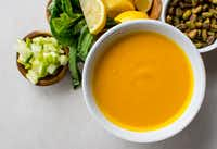 Carrot Ginger Blended Soup with Green Apples, Basil and Pistachios(Rebecca White/Special Contributor)