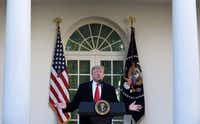 President Donald Trump makes a statement announcing that a deal has been reached to reopen the government through Feb. 15.(Olivier Douliery/Abaca Press)
