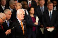 Sen. John Cornyn attends a ceremony to begin a period where President George H.W. Bush will lie in state in the Rotunda of the U.S. Capitol on Monday, Dec. 3, 2018, in Washington.(Smiley N. Pool/Staff Photographer)
