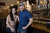Veronica and Craig Bradley, owners of Vector Brewing, pose for a portrait at Lakewood Brewing Co. on Wednesday, January 23, 2019. Construction on Vector Brewing, which will be at the corner of Walnut Hill Ln and Audelia Rd, has been delayed because of the federal government shut down. Lakewood Brewing Co. has stepped in to help.(Ashley Landis/Staff Photographer)
