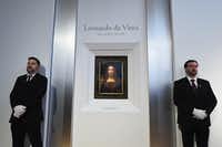 Christie's unveils Leonardo da Vinci's 'Salvator Mundi' (pictured) at Christie's New York on October 10, 2017 in New York City. (Ilya S. Savenok)