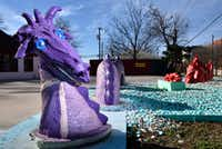 Dr. Steven Tutt's dragons outside of his office at Cedar Springs Chiropractic in Dallas on Jan. 28, 2019. (Ben Torres/Special Contributor)