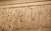 Moses carrying the Ten Commandments is among the lawmakers and leaders depicted on friezes in the courtroom of the U.S. Supreme Court. Depicted on this portion of the frieze are Menes, the first king of the first dynasty of ancient Egypt; Hammurabi of Babylon who wrote one of the first legal codes, Moses; Solomon, King of Israel and renowned judge; and Lycurgus, a legislator of Sparta. (Chuck Kennedy/KRT)
