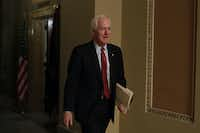 Sen. John Cornyn walks down a hallway at the U.S. Capitol after a meeting in the office of Senate Majority Leader Sen. Mitch McConnell on January 28, 2019 in Washington, D.C.(Alex Wong/Getty Images)