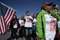 """Protestors chanted, """"No al muro!"""" (No to the wall!), during a march denouncing the border wall and calling for immigration reform in El Paso on Jan. 26, 2019.(Paul Ratje/Agence France-Presse)"""