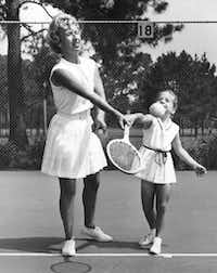 """Maureen """"Little Mo"""" Connolly giving her daughter Cindy a lesson.(Courtesy)"""