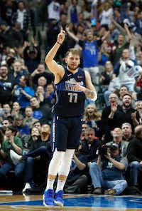 Dallas Mavericks rookie Luka Doncic reacts after hitting a basket during the fourth quarter against the Detroit Pistons in Dallas on Jan. 25, 2019.(LM Otero/The Associated Press)