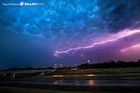 Lightning bolts fill the sky over highway 360 near Euless, Texas on Friday, June 2, 2017.(Ryan Michalesko/Staff Photographer)