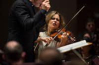 Violinist Leila Josefowicz plays with the Dallas Symphony Orchestra under guest conductor John Adams at the Meyerson Symphony Center in Dallas on Jan. 31, 2019. There will be repeats of this performance at 7:30 p.m. Friday and Saturday. (Daniel Carde/Staff Photographer)