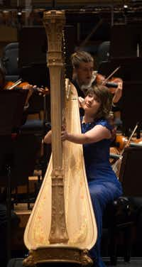Principal harpist Emily Levin and the Dallas Symphony Orchestra perform at the Meyerson Symphony Center in Dallas on Jan. 31, 2019. (Daniel Carde/Staff Photographer)