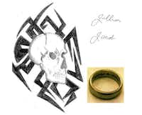 """<p>He had two tattoos: a skull with a tribal design on his right shoulder and the names Jillian and Jacob in cursive on his left pectoral. He wore a tungsten ring on his left middle finger with the inscription """"always and forever"""" on the inside.</p>(McKinney police)"""