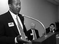 On March 18. 1995, Ron Kirk, Darrell Jordan and, at right, Domingo Garcia went to the First Presbyterian Church in downtown Dallas to make the case they were the best person to be mayor.(Irwin Thompson/Staff photographer)