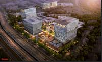 The Auspire development, shown in a rendering, includes three office buildings plus retail space.(Gensler)