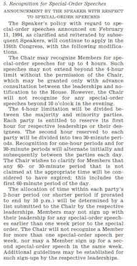 "<p>From Jan. 3, 2019, Congressional Record, announcement ending unlimited use of ""special-order"" speeches on the floor of the U.S. House.</p>"