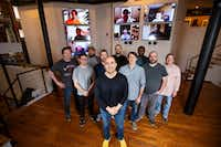 Mark Haidar, center, cofounder and CEO of Vinli, with his local and remote team members at Vinli's office in Dallas. About half of the company's employees work remotely.(Brandon Wade/Special Contributor)