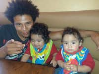 Nestor Martinez poses with his twin sons Elijah and Josiah. They, along with Nestor Martinez's friend and coworker Wilmer Maradiaga, died of carbon monoxide poisoning in an unfinished east Oak Cliff home Sunday morning.(Courtesy of Esmeralda Gonzales)