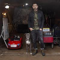 "<p><span style=""font-size: 1em; background-color: transparent;"">Artist Nic Mathis with his dog Max, photographed in his studio in Dallas on Jan. 22, 2019.</span></p>(Nan Coulter)"