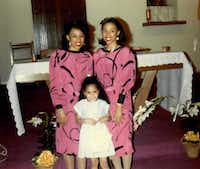 Micaela (left) and Myrna Dartson, home from college on Easter Sunday 1987, at St. Peter the Apostle Catholic Church in Dallas with one of their nieces. (Family photo)