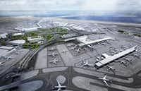 "<p>This rendering shows Terminal 8 at New York's John F. Kennedy International Airport, which <span style=""font-size: 1em; background-color: transparent;"">will be shared by American Airlines and British Airways</span></p>(American Airlines)"