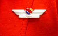 Wings belonging to Shari Rood, Southwest Airlines flight attendant, after she earned them at the Southwest Airlines Training and Operational Support building in Dallas.(Daniel Carde/Staff Photographer)