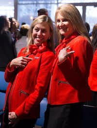 <p>Southwest Airlines flight attendants Shari Rood (left) and Linda Clark pose for a photo after Rood earned her wings at the Southwest Airlines Training and Operational Support building in Dallas. Clark, who has been friends with Rood since high school, gave Rood her wings.</p>(Daniel Carde/Staff Photographer)