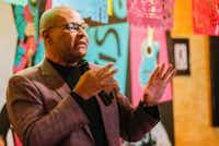 Dallas mayoral candidate Albert Black Jr. spoke last month during a community breakfast at El Ranchito Restaurant.(Brandon Wade/Special Contributor)