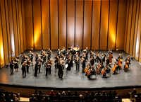 """Dallas Symphony Orchestra plays the first movement of Mozart's Symphony No. 25 during their """"ReMix"""" concert at Moody Performance Hall in Dallas on Feb. 8, 2019.(Lawrence Jenkins/Special Contributor)"""