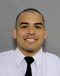 Dallas Fire-Rescue officer Nicholas Granados, 29, was hospitalized after a crash Sunday in west Oak Cliff in which a driver died after crashing into the ambulance Granados was riding in. Granados suffered a collapsed lung, a fractured rib and other injuries, according to a statement from Dallas Fire-Rescue.(Dallas Fire-Rescue)