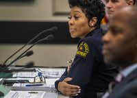 Dallas Police Chief U. Renee Hall listened to comments on recommendations for the Citizens Police Review Board during a Dallas City Council meeting on Monday. (Carly Geraci/Special Contributor)