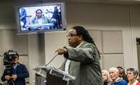 "Walter ""Changa"" Higgins comments on recommendations for the Citizens Police Review Board  at Dallas City Hall on Monday. (Carly Geraci/Special Contributor)"