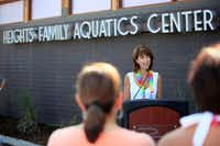 Former Richardson Mayor Laura Maczka spoke during the grand opening of the Heights Family Aquatic Center, on July 12, 2013 in Richardson.(Ben Torres/Special Contributor)