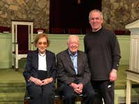 The author poses for a photo after the 11 a.m. church service with Rosalynn Carter and President Jimmy Carter. (John Banks)