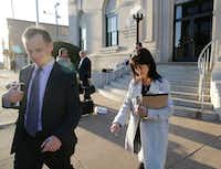 Mark Jordan and former Richardson Mayor Laura Jordan leave the Paul Brown Federal Building United States Courthouse in Sherman. The feds say Laura Jordan accepted money, gifts and other favors from Mark Jordan in exchange for voting for a controversial rezoning involving his large apt development in the city.(Vernon Bryant/Staff Photographer)
