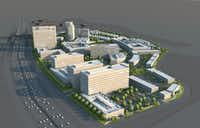 A rendering shows the 50-acre Palisades Village mixed-use development on U.S. 75 in Richardson.(JP Realty)