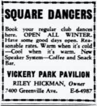 "<p><span style=""font-size: 1em; background-color: transparent;"">A newspaper advertisement touts year-round entertainment at Vickery Park Pavilion.</span></p>(DMN archives)"