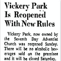 A small item in <i>The Dallas Morning News</i> announced Vickery Park's reopening in 1971.(<i>DMN</i> archives)