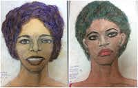 The FBI released 16 sketches made by convicted serial killer Samuel Little, including those of two women he says he killed in Texas. On the left is a woman Little said he killed in Houston between 1976 and 1979 or possibly in 1993. On the right is a woman whose body Little said he dumped outside Wichita Falls in 1976 or 1977.(FBI)