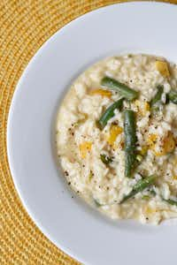 A dish of Marcella Hazan's risotto with green beans and sweet yellow bell peppers (Ben Torres/Special Contributor)