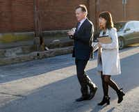 Mark Jordan and former Richardson Mayor Laura Jordan leave the Paul Brown Federal Building United States Courthouse in Sherman, Texas on Tuesday, February 12, 2019. The feds say Laura Jordan accepted money, gifts and other favors from Mark Jordan in exchange for voting for a controversial rezoning involving his large apartment development in the city. (Vernon Bryant/Staff Photographer)
