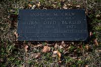 """Anderson """"Andrew"""" McCrew's headstone(Ashley Landis/Staff Photographer)"""