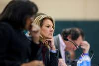 Dallas City Council member Jennifer Staubach Gates listens during a Dallas City Council meeting at Park In the Woods Recreation Center in Dallas.(Shaban Athuman/Staff Photographer)
