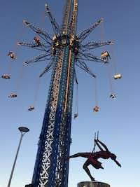 The StarFlyer, which spins you 450 feet in the air at speeds up to 45 mph, is billed as the world's tallest swing ride. (Robin Soslow/Special Contributor)