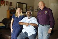 Meals on Wheels recipient George Kelley, 74, along with Abby Tupper and her father, Charlie, recalled the events of Dec. 17, when the Tuppers' insistence on getting Kelley his lunch led to his rescue from a fall that left him stranded on the floor of his apartment.(Tom Fox/Staff Photographer)
